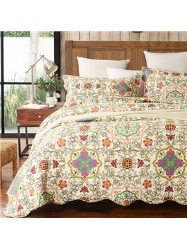 Top Grade Floral Vine Print Cotton 3-Piece Bed in a Bag