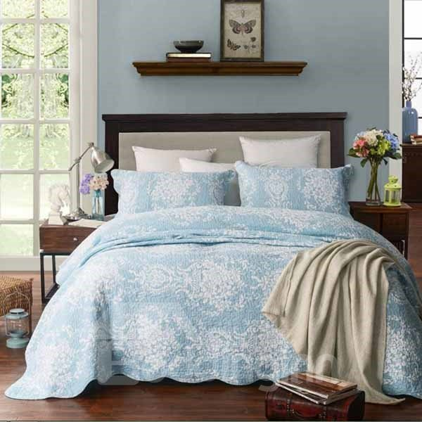 Exquisite Jacquard Design Blue 3-Piece Bed in a Bag
