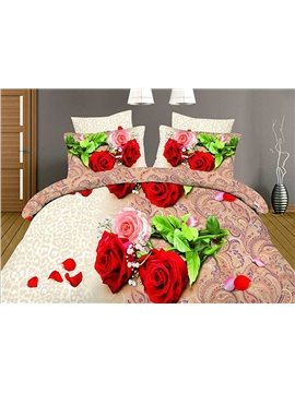 Red and Pink Roses Jacquard Design 4-Piece Duvet Cover Sets