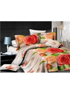 Red and Orange Floral Print Polyester 4 Pieces Duvet Cover Sets