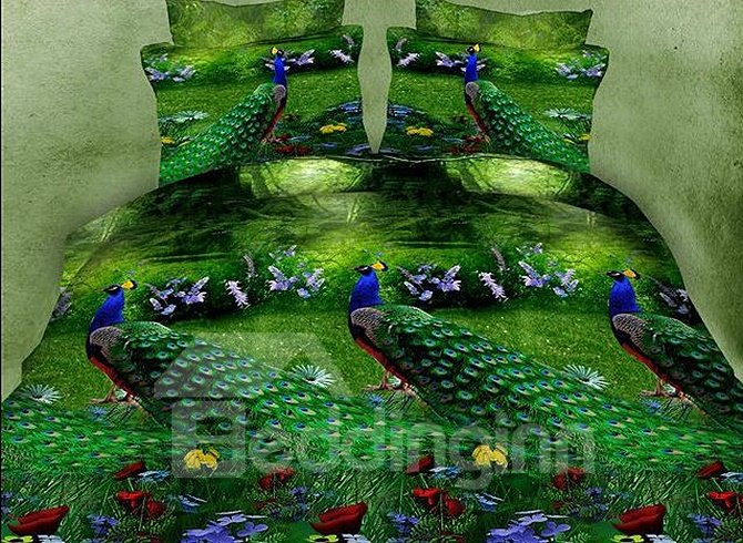Peacocks on Green Lawn Print 4-Piece Duvet Cover Sets