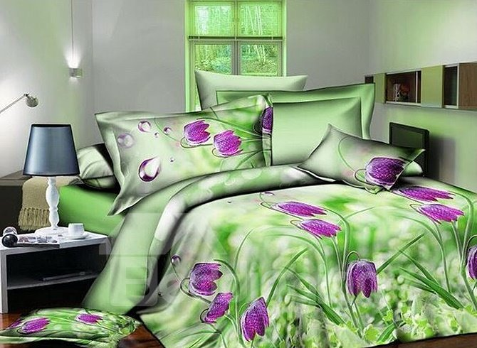 Pretty Purple Flowers Printing 4-Piece Green Duvet Cover Sets