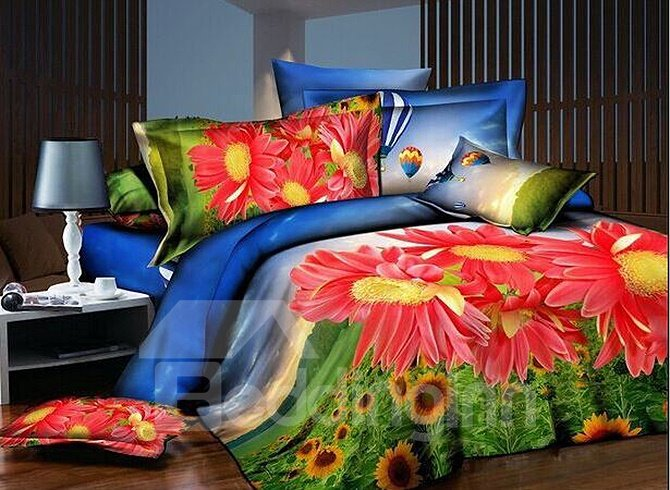 Red Daisy And Sunflowers Print 4 Piece Polyester Duvet