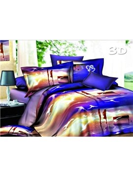 Lovers and Beach Sunset Scenery Print 4-Piece Duvet Cover Sets
