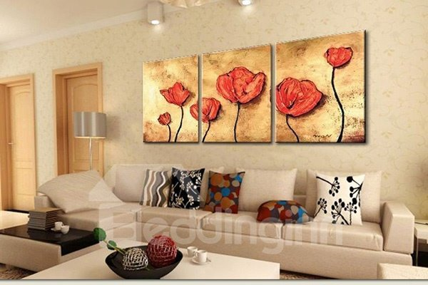 Wonderful Oil Painting Red Flowers 3-Panel Frameless Wall Art Prints