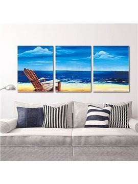 Stunning Hand-Painting Mediterranean Seaside 3-Panel Frameless Wall Art Prints
