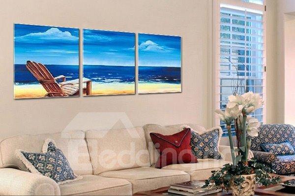 Stunning Hand-Painting Mediterranean Seaside 3-Panel Frameless Wall Art Prints