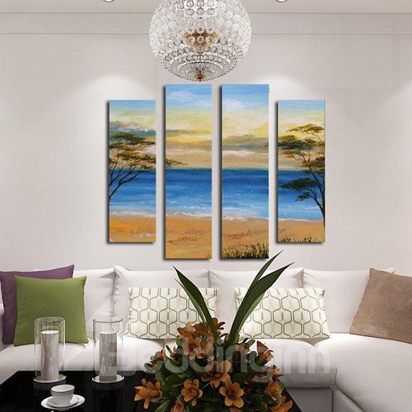 Wonderful Coastal Scenery 4-Panel Frameless Wall Art Prints