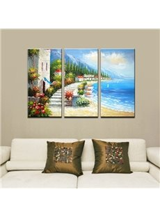Picturesque Hand-Paint Mediterranean Beach 3-Panel Frameless Wall Art Prints