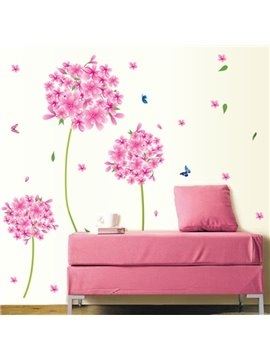 Gorgeous Pink Flower Ball Removable Wall Sticker