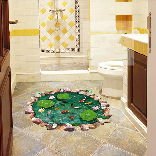 Creative Lotus Pool And Goldfish Pattern 3d Bathroom Floor