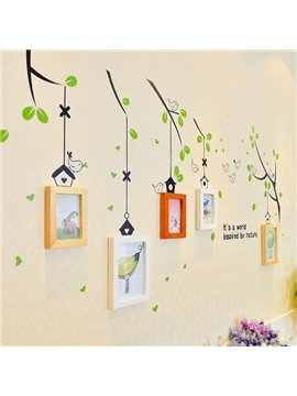 Wonderful Tree Branches Wall Sticker Wooden 5-Frame Wall Photo Frame