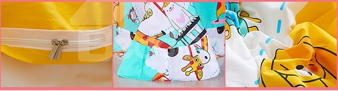 Lovely Animals Print Natural Cotton Kids 4-Piece Duvet Cover Sets