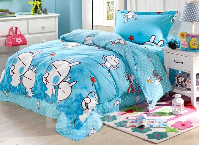 Cute White Rabbit Pattern Cotton Kids 3-Piece Duvet Cover Sets