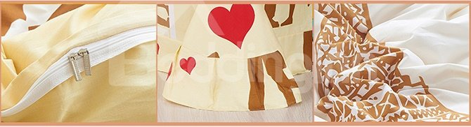 Love in Paris 100% Cotton Kids 4-Piece Duvet Cover Sets