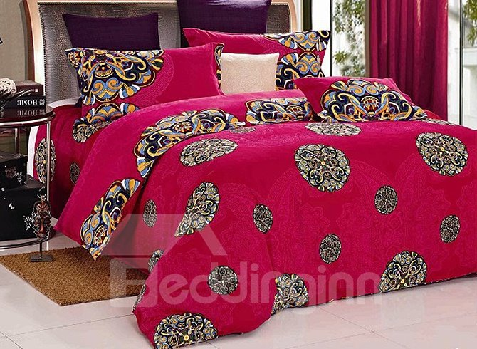 Luxury Chinoiserie Jacquard Style Red Cotton 4-Piece Duvet Cover Sets