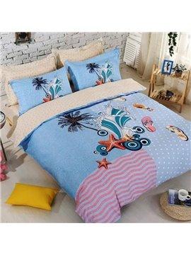Cartoon Beach Scenery Print Blue 4-Piece Duvet Cover Sets