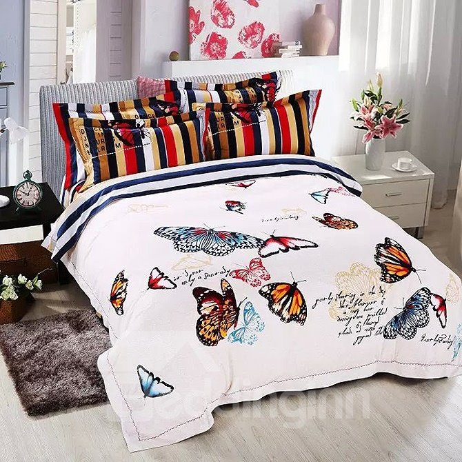 Elegant colorful flying butterflies print white 4 piece for Elegant white comforter sets