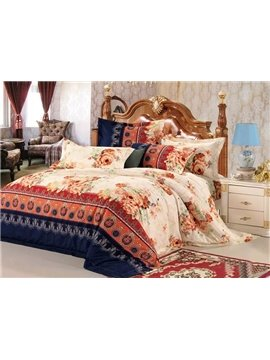 Beige Peonies Print European Style Cotton 4-Piece Duvet Cover Sets