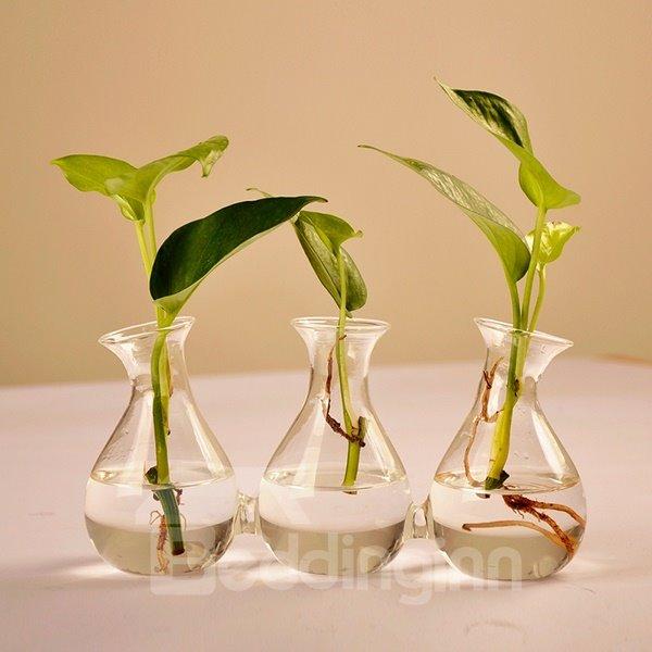 Creative Triple Connected Glass Desktop Flower Vase Sets