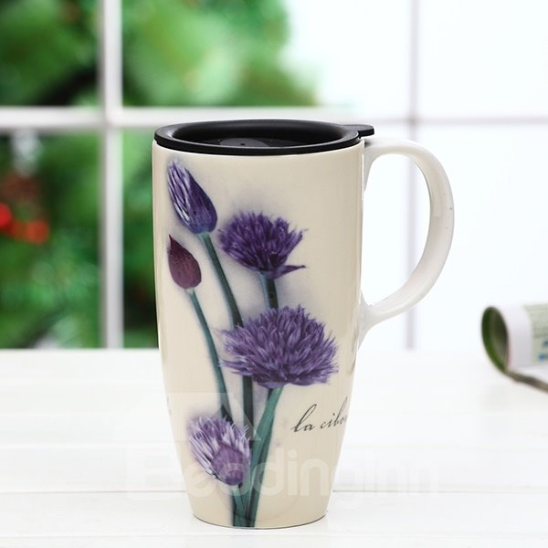 Gorgeous Purple Flower Pattern Ceramic Tall Coffee Mug