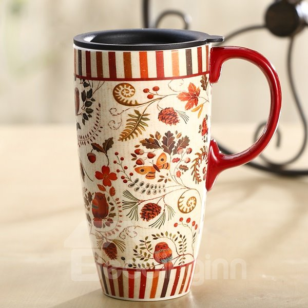 Wonderful Flowers Pattern Ceramic Tall Coffee Mug