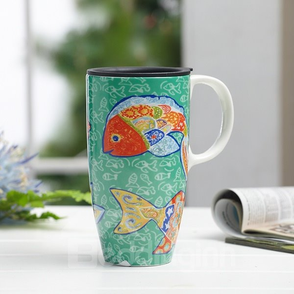 Unique Hand-Paint Cartoon Fish Pattern Ceramic Tall Coffee Mug