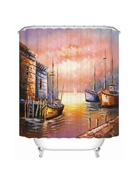 Peaceful Oil Painting Venice Town View 3D Shower Curtain
