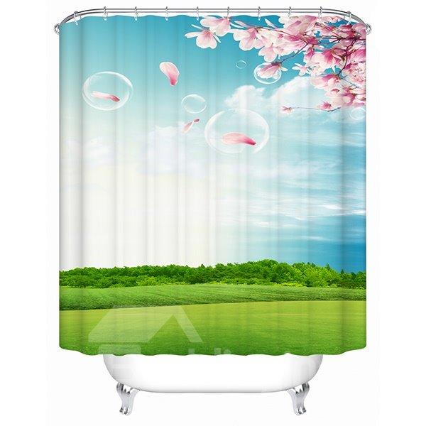 Fresh Natural Cozy Green Outdoor Print 3D Shower Curtain
