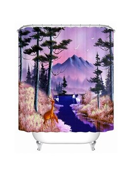 Resplendent Wild Animals and Snow Mountain 3D Shower Curtain