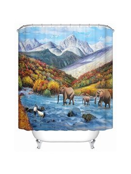 Spectacular Field View Elephant and Crane 3D Shower Curtain