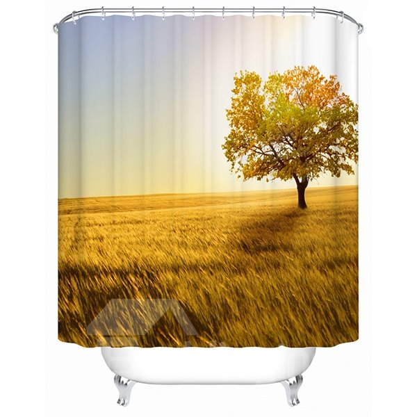 Attractive Rural Scenery and Maple Tree Print 3D Shower Curtain