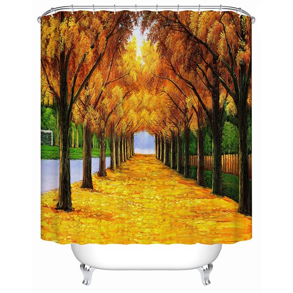 Chaming Gold Grond and Maple Tree Print 3D Shower Curtain