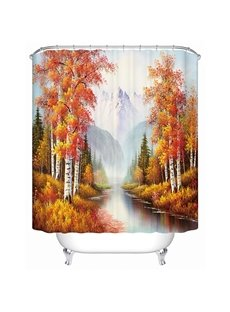 Peaceful Picturesque Snow Mountain and Birch Tree 3D Shower Curtain