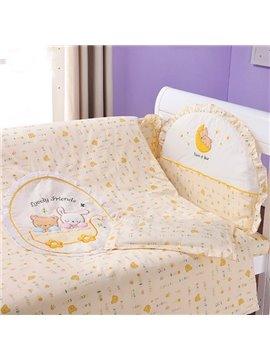 Golden Dreamland Cute Bear Print 10-Piece Crib Bedding Sets