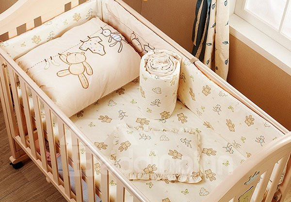 100% Cotton Adorable Bear Pattern 7-Piece Crib Bedding Sets