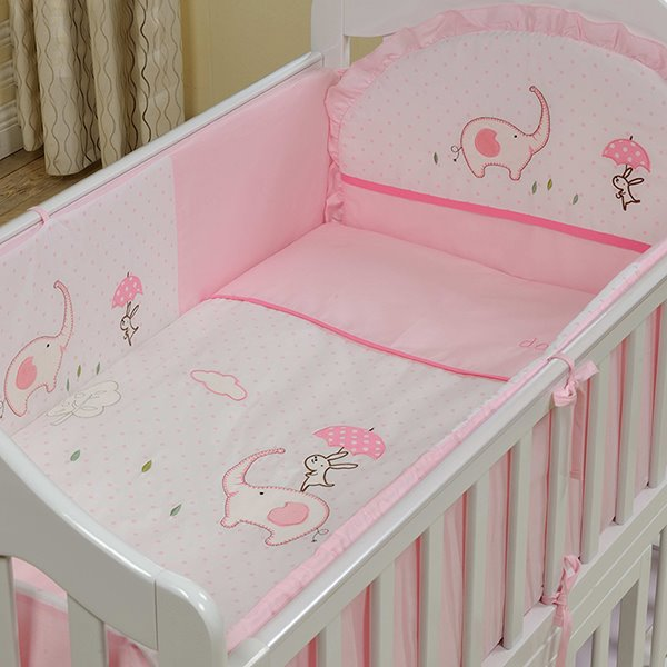 Pink Elephant And Rabbit Print 10 Piece Crib Bedding Sets