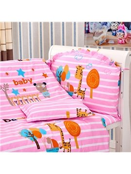 Pink Stripes Pattern Animals Print 10-Piece Crib Bedding Sets