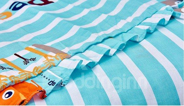 Animal Family Stripes Pattern 10-Piece Crib Bedding Sets