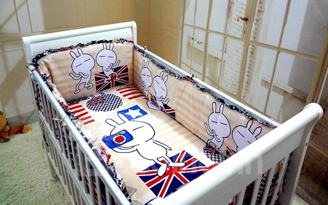 Super Cute Rabbit Pattern 10-Piece Crib Bedding Sets