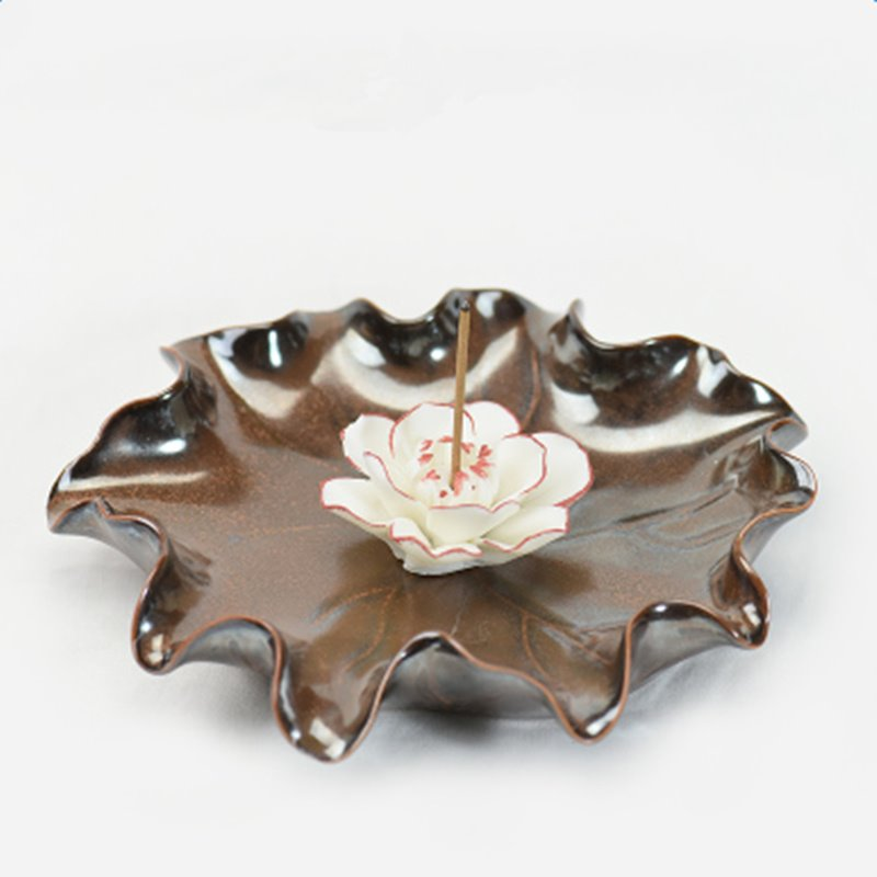 Gorgeous Lotus Design Ceramic Incense Holder