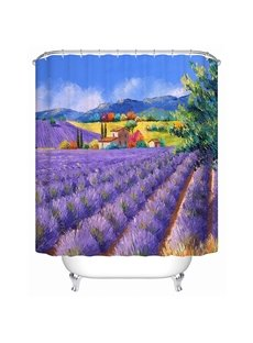 Fabulous Charming Lavender Garden and Small Cottage Print 3D Shower Curtain