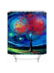 Creative Design Unique Magic Space and Red-leaves Tree 3D Shower Curtain