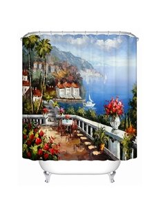 Vigorous Ocean View Villa Print 3D Shower Curtain