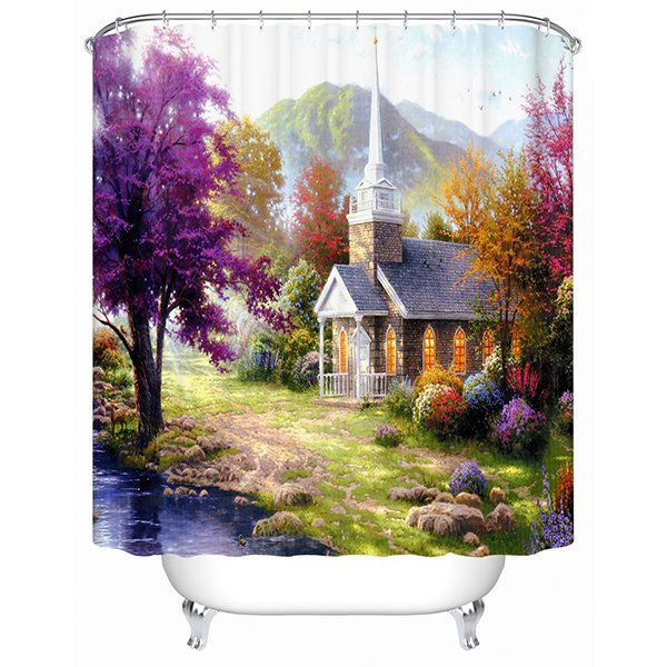 Beautiful Mountain View Peaceful Cottage Print 3D Shower Curtain