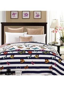 Vivid Flying Colorful Butterflies Print 100% Cotton Quilt