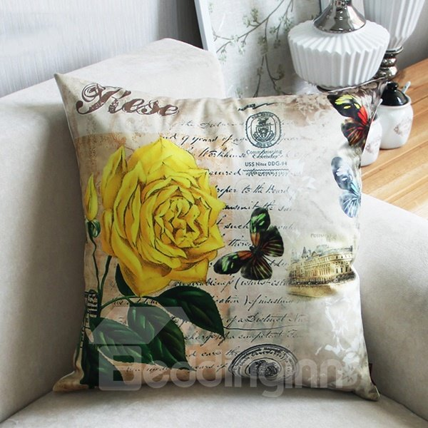 Bright Yellow Rose and Butterfly Print Throw Pillow