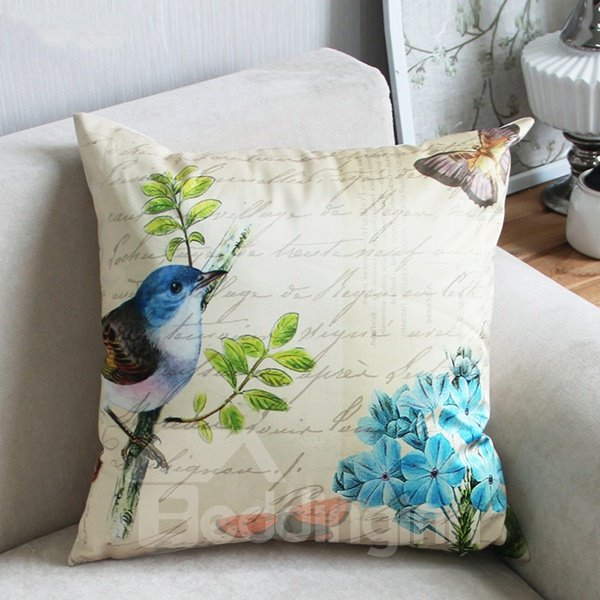 Top Class Pastoral Style Bird and Butterflies Print Throw Pillow