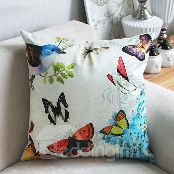 Classy Flying Colorful Butterflies and Bird Print Throw Pillow