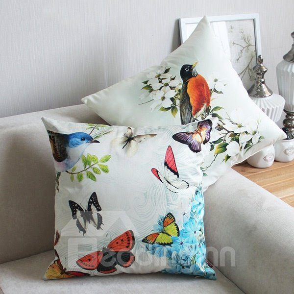 Classy Flying Colorful Butterflies and Bird Print Throw Pillow - beddinginn.com